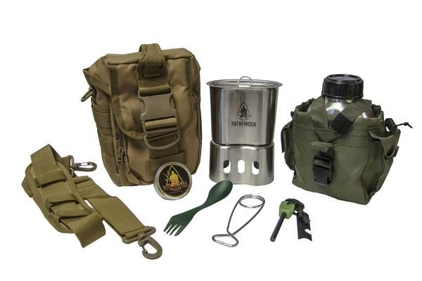 Campfire Survival Cooking Kit This Kit Includes:  Canteen Cook Set Pathfinder Canteen Cup Lid (effective 10-12-15) MOLLE Shoulder Bag Stainless Steel Bottle Hanger Plastic Spork Mini Inferno (actual container may vary) Glow in Dark - Ferrocerium Rod (handle color tint may vary)  *NO SUBSTITUTIONS Made in China   Updated: 10-12-15