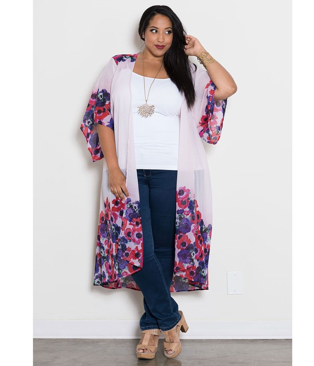 Plus Size Pink Floral Bianca Chiffon Duster Coat   Curvy Chic ...