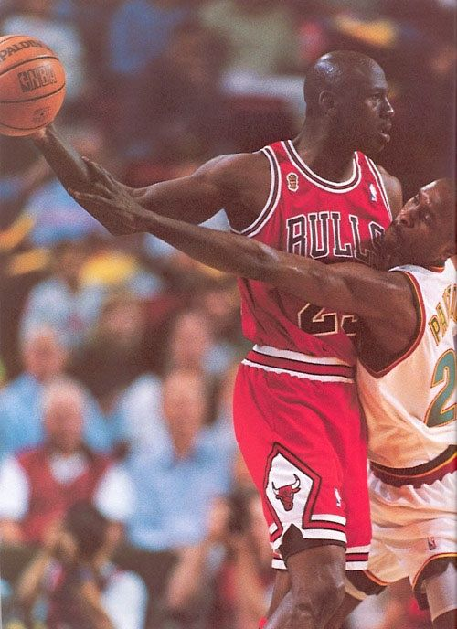 MJ...I Loved When Mike Held The Ball from Whomever Was on Him, Y don't Players Today Learn This Move...?