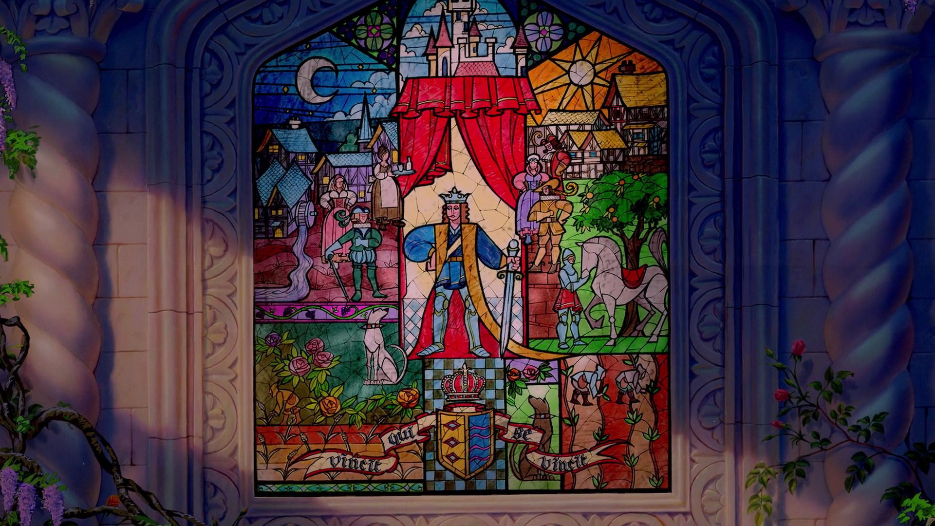 Cross Stitch Pattern Disney Beauty And The Beast Stained Glass 2