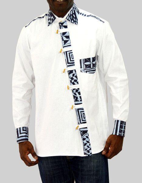 chemise blanche homme avec imprim ethnique par kabangondo pour afrikrea. Black Bedroom Furniture Sets. Home Design Ideas