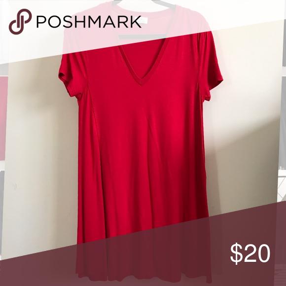 cc8928f36709 Zara Red T-shirt dress Falls above knee