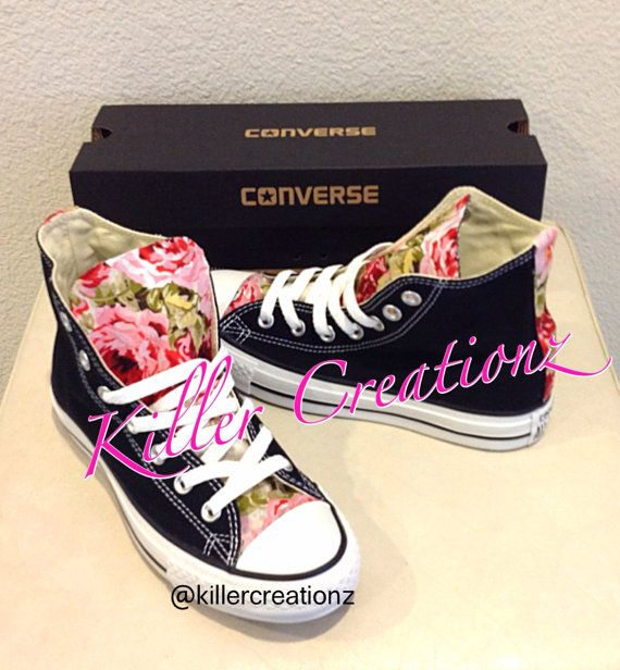 107aa0281fc7 Custom Floral High Top Converse made to order by KillerCreationz ...