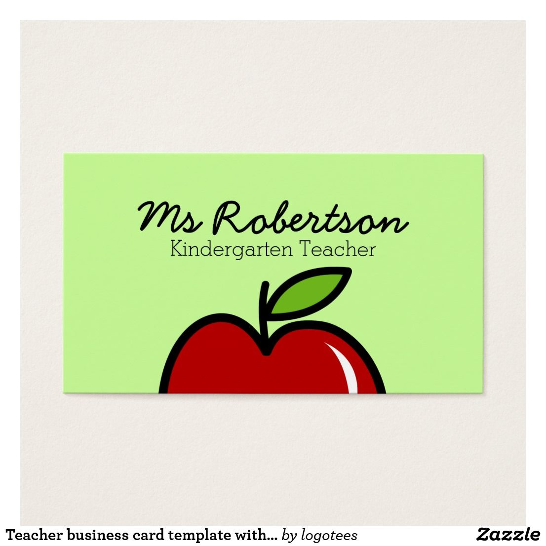 Teacher business card template with red apple. Cute logo design for ...