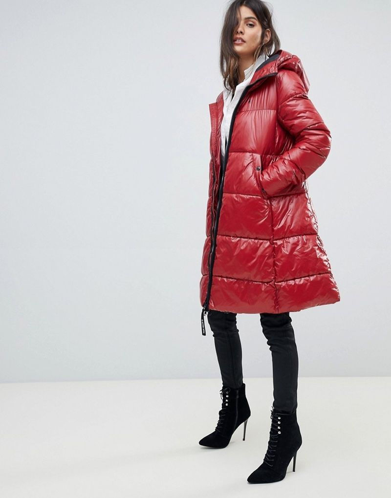 G-Star High Shine Long Line Padded Jacket in Red $340