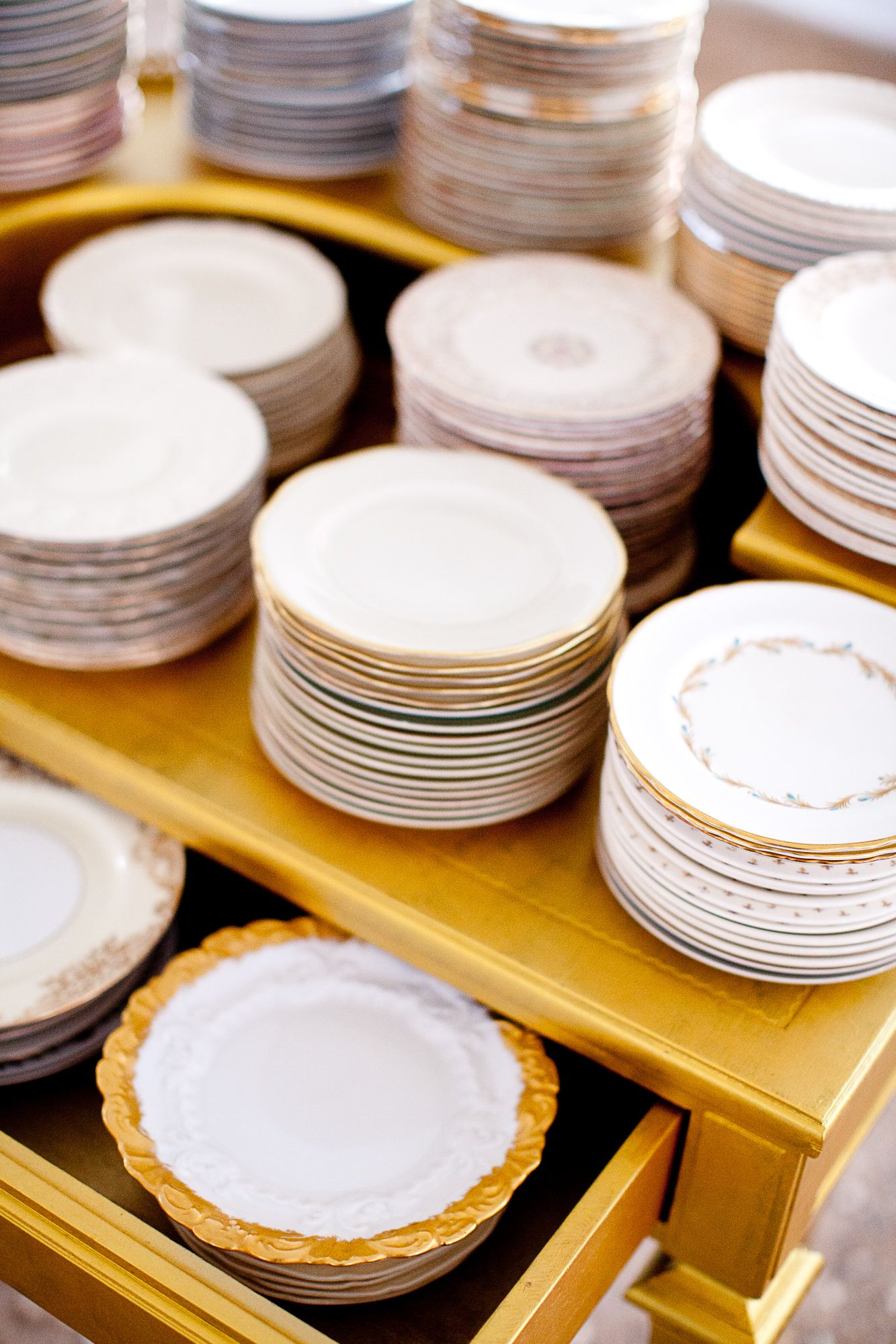 Vintage Gold China Collection dessert plates from Southern Vintage rental & Vintage Gold China Collection dessert plates from Southern Vintage ...