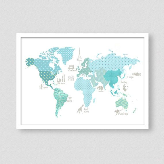 Childrens world map world map poster teal wall art wm302a boy world map poster 02 teal aqua world map kids by modernkidsgallery gumiabroncs Images