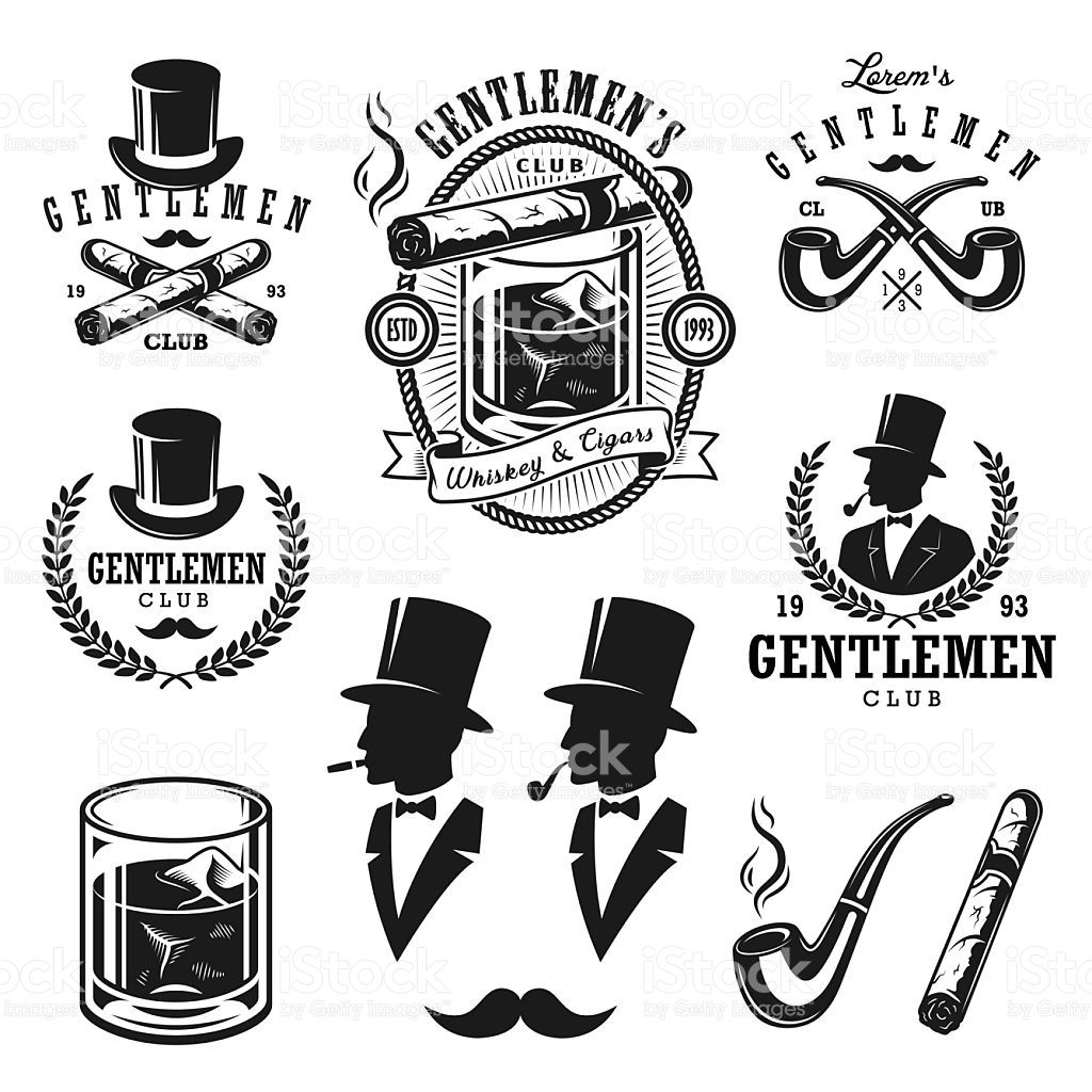 ba6312209bf9d0 Set of vintage gentlemen emblems and elements royalty-free stock vector art