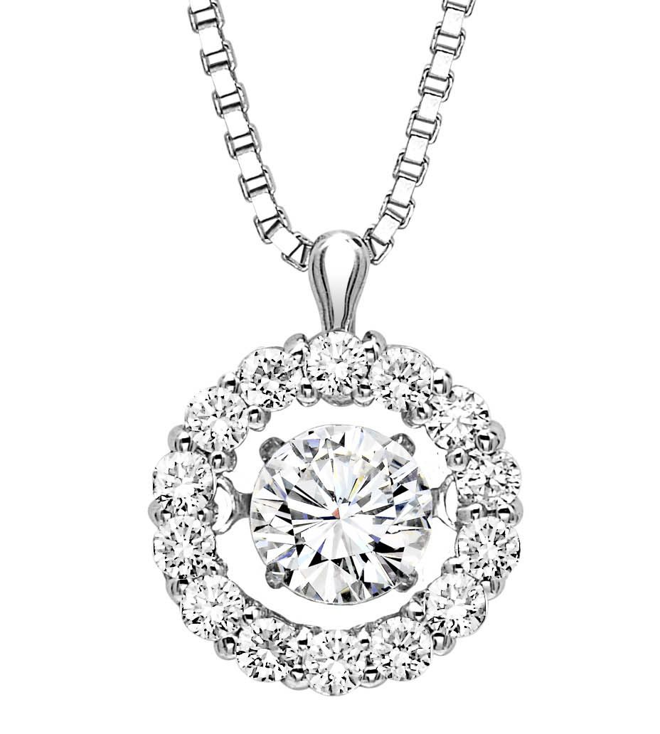 Diamonds that dance to the rhythm of her heartbeat.  Watch this diamond shimmer and sparkle as it vibrates with each breath.  Rhythm of Love 1/2 Carat Diamond Halo Pendant Necklace.  https://www.atlantadiamond.com/shop/rhythm-of-love-2/rhythm-of-love-12-carat-diamond-halo-pendant-necklace/