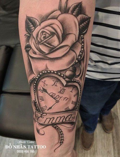Werke von uhren und rosen tattoo – tun nhan tattoo – maryann… – werke von uhre