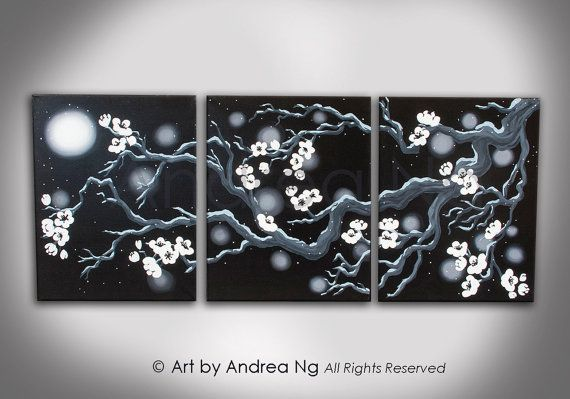 Triptych Surreal Black And White Cherry Blossom Tree Branches In Snow Under Moon Original Painting Total 48 Quot X Black Canvas Paintings Painting Triptych