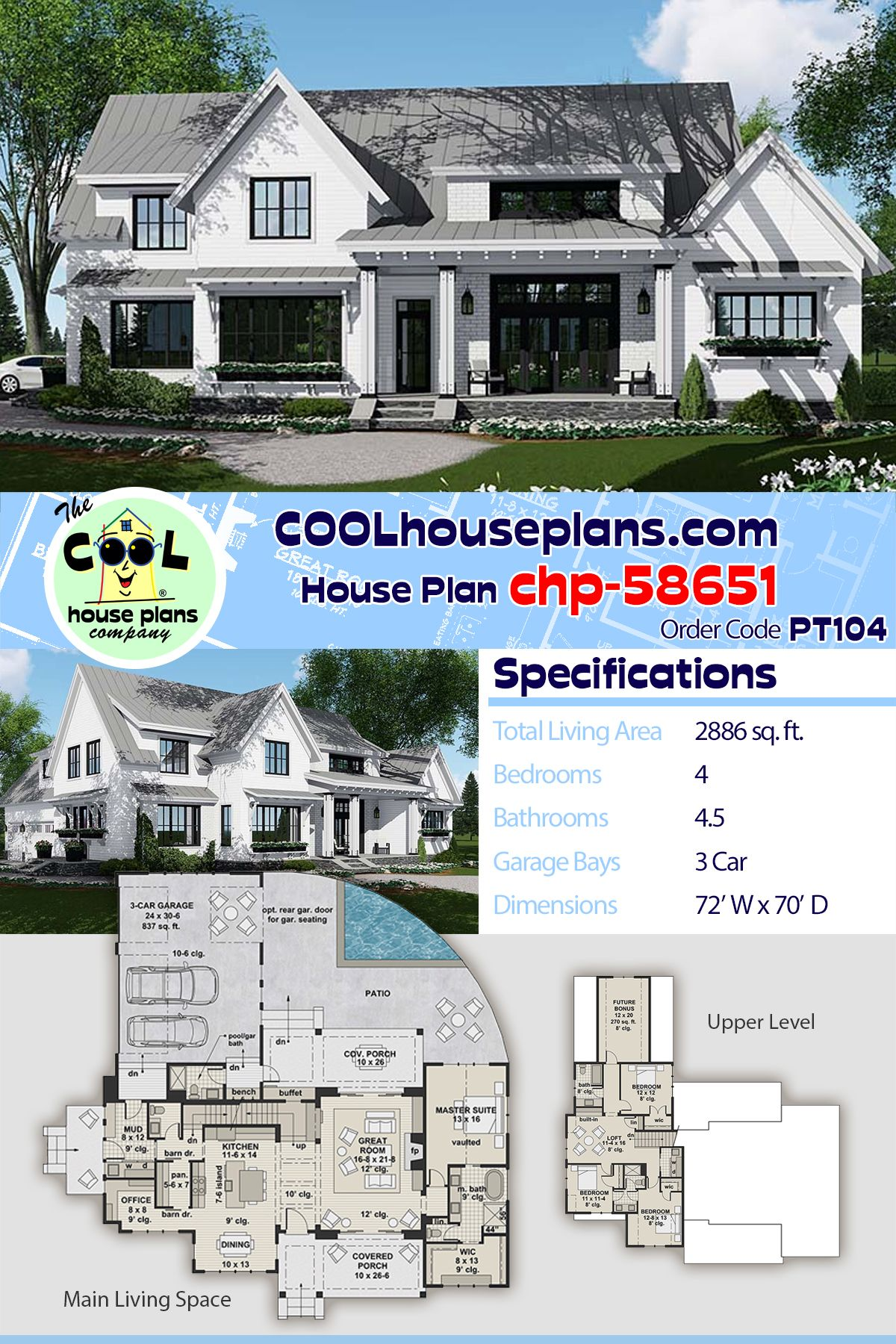 New Modern Farmhouse Home Plan Chp 58651 At Cool House Plans Family House Plans Traditional House Plans House Plans