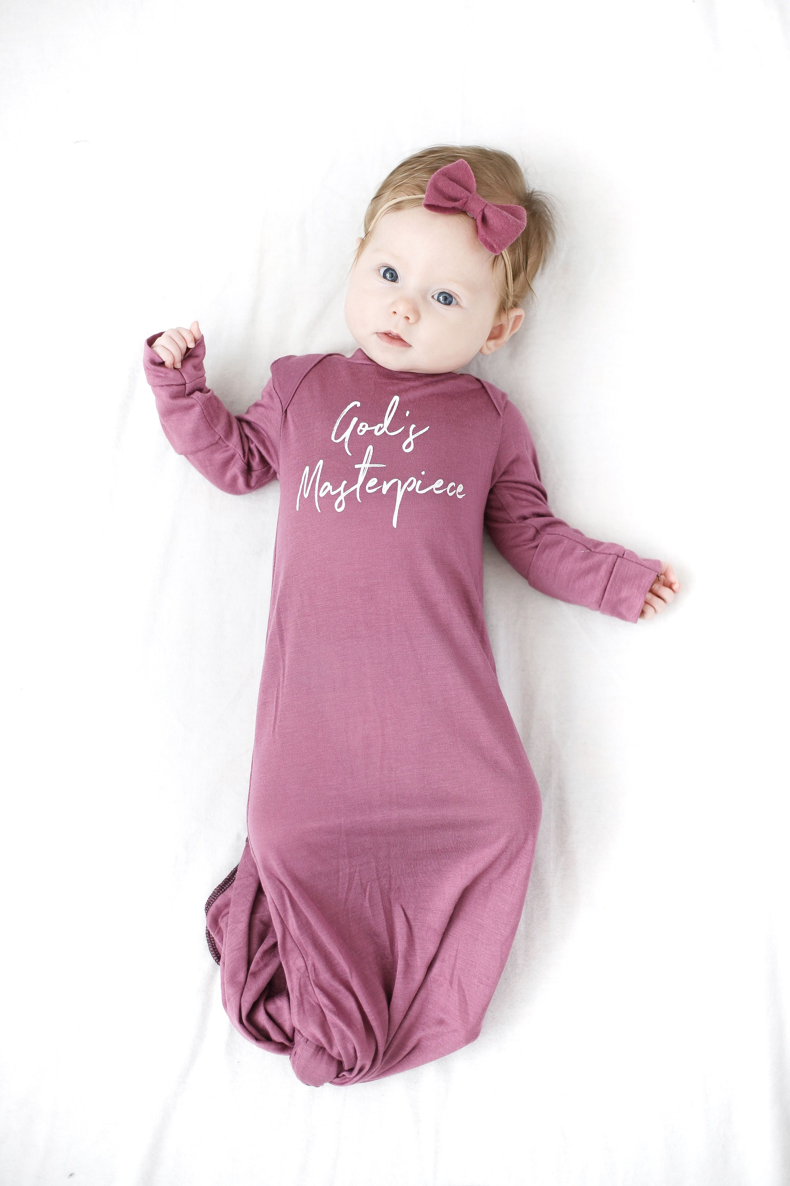 baby girl knotted gown- gods masterpiece knotted gown | brave little