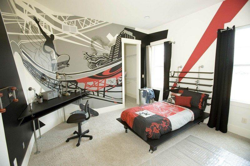 wandgestaltung mit skateboard wandtattoo modern und praktisch - Skateboard Regal Kinder Schlafzimmer
