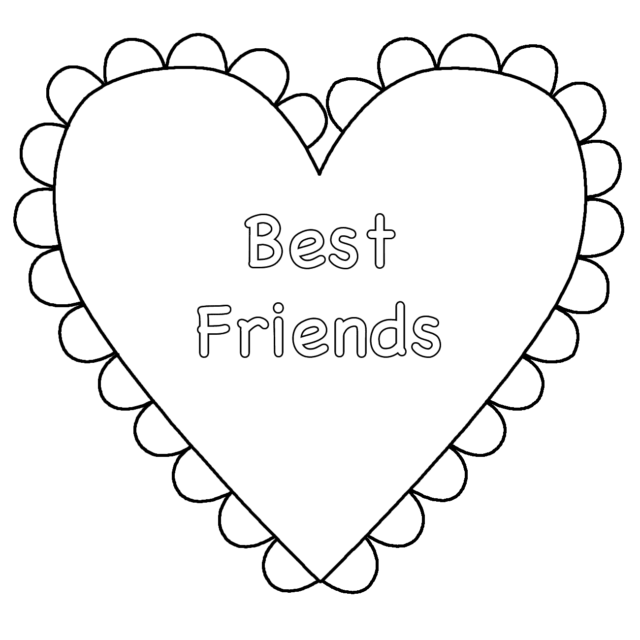 Heart Best Friends Coloring Page Valentine S Day Heart Coloring Pages Valentine Coloring Pages Free Printable Coloring Pages
