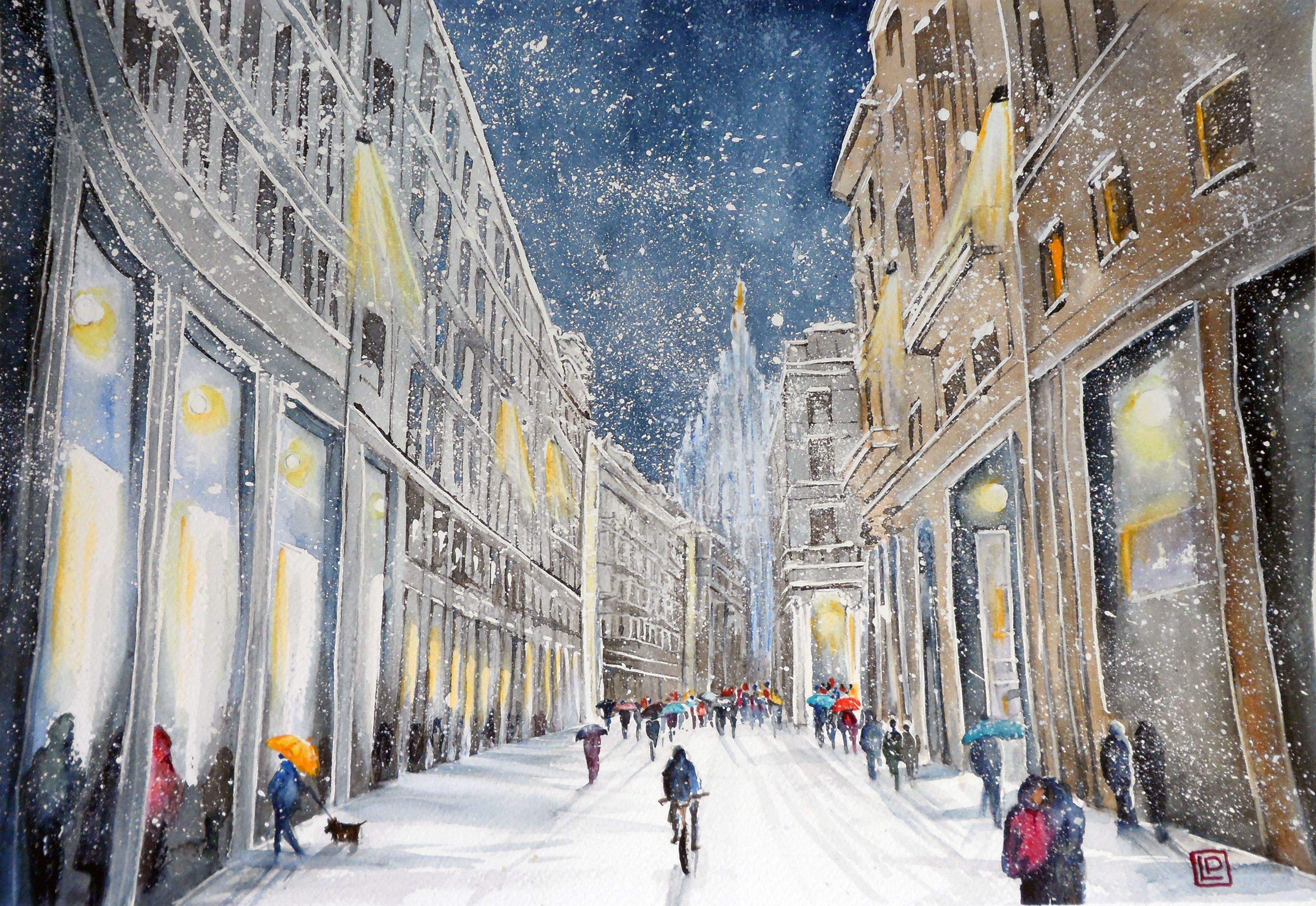 """""""Neve sul Corso """" ND acquerello 35x50 di Lorenza Pasquali www.lorenzapasquali.it Copyright © Lorenza Pasquali -"""