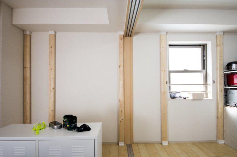 賃貸diy ディアウォールで棚 テレビ台 デスク ハンガーラック一体型の全部入り壁面収納を作る 2020 ディアウォール 壁面収納 Diy 壁 棚