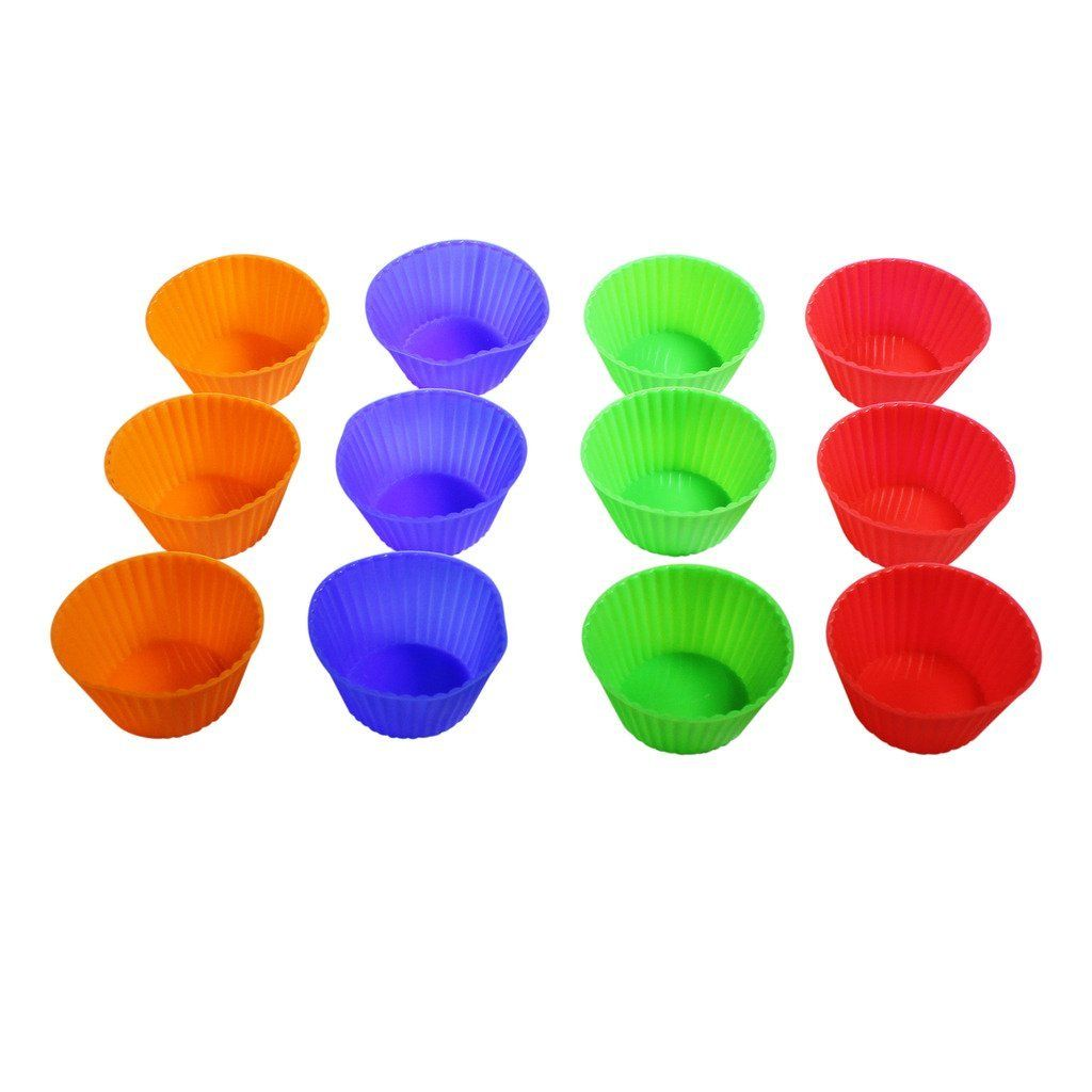 12 Piece Multi-Coloured Silicone Cupcake Bakeware Cases by Kurtzy TM >> Insider's special review you can't miss. Read more  : Small Pastry Molds