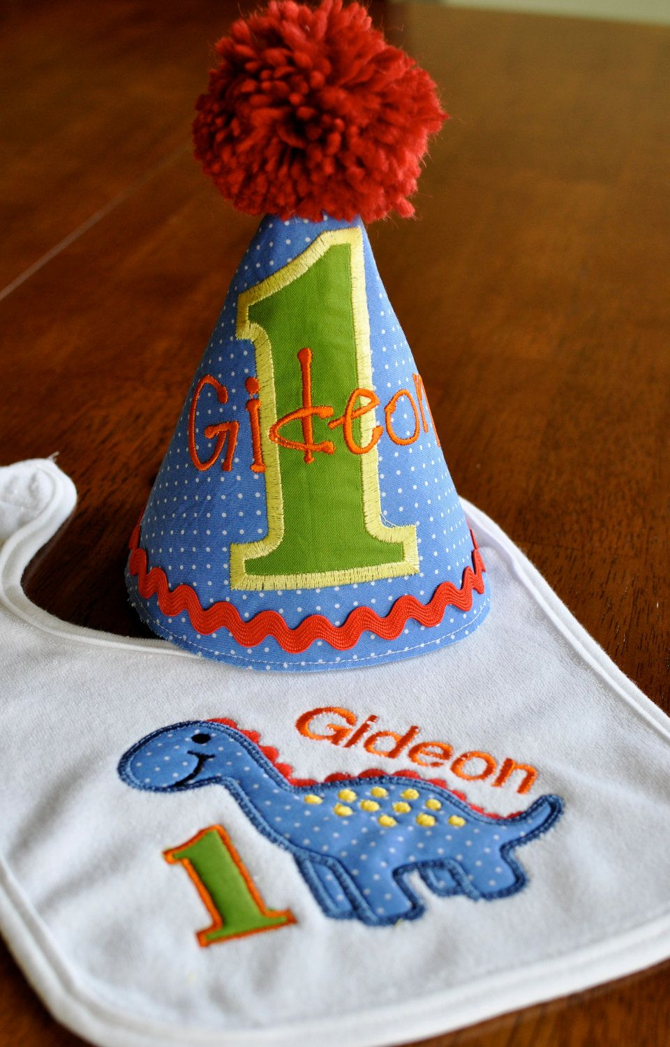 Custom Dinosaur First Birthday Party Hat And Bib 3400 Via Etsy
