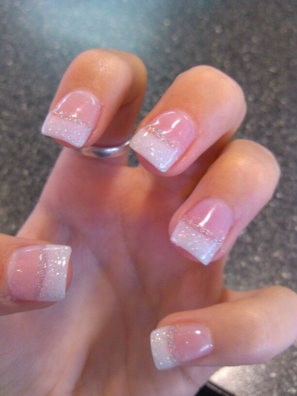 want more simple nails yet still something elegant for prom try the french tip with glitter