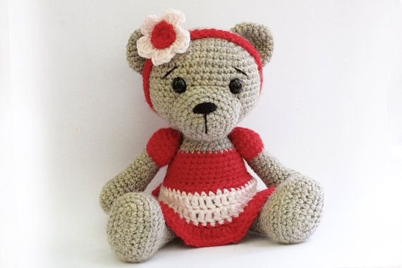 PATTERN : Bear- teddy Bear Girl-Amigurumi bear pattern-Bear-skirt-Classic Bear-Crochet -Knitted Stuffed animals