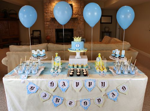 A pleasing birthday table decoration birthday party for Baby first birthday decoration ideas