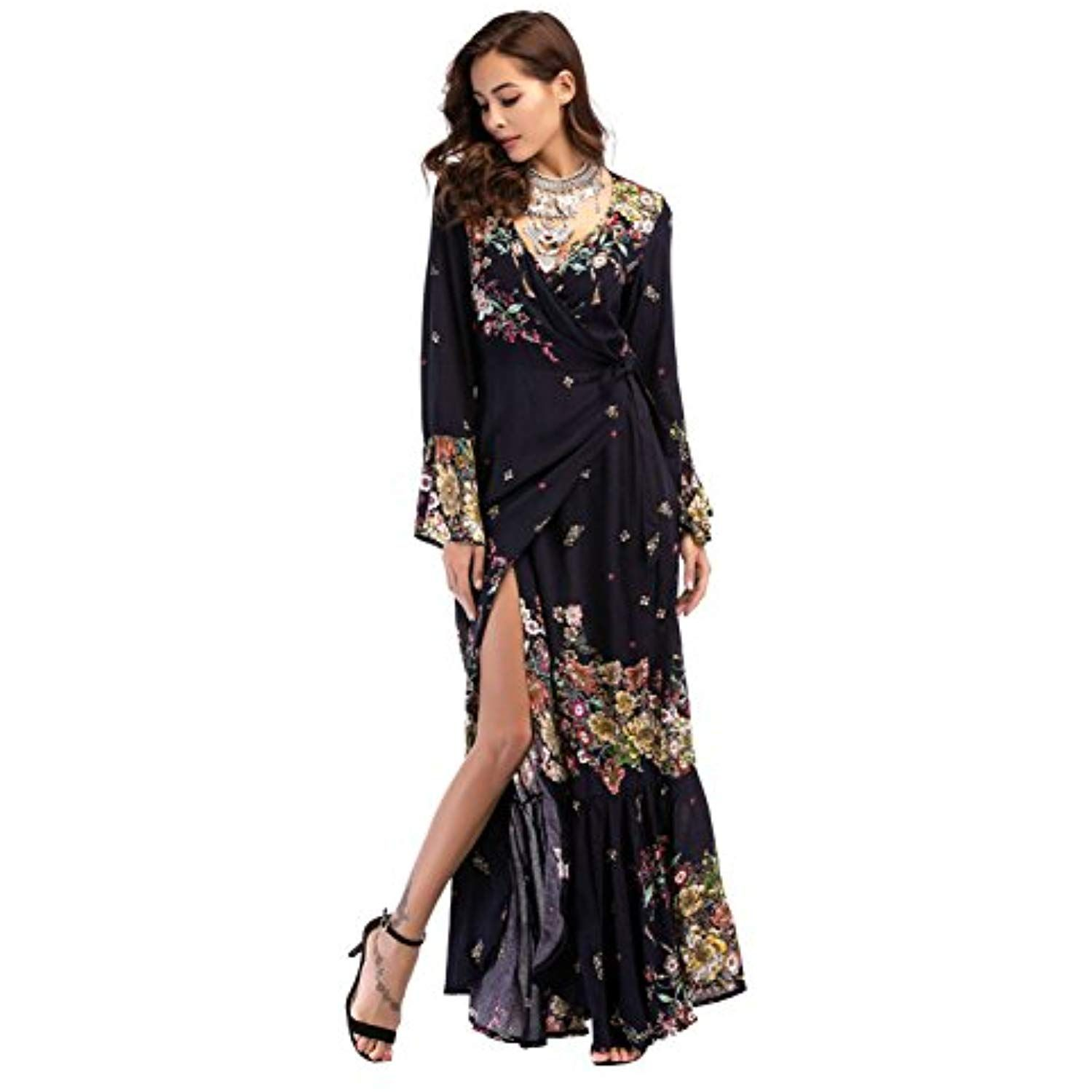 White Chiffon Front Silt Casual Style Backless Halter Top: Women's Print V-Neck Long Sleeve Chiffon Beach Maxi Wrap