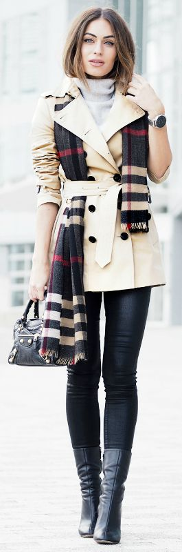 Lydia Lise Millen + ultra chic + belted cream trench + statement cashmere tartan scarf + simple black jeans + ultimate spring style + suit any eventuality. Trench/Scarf: Burberry, Denim: Citizens of Humanity, Knit: The White Company, Bag: Balenciaga, Boots: Chloe.