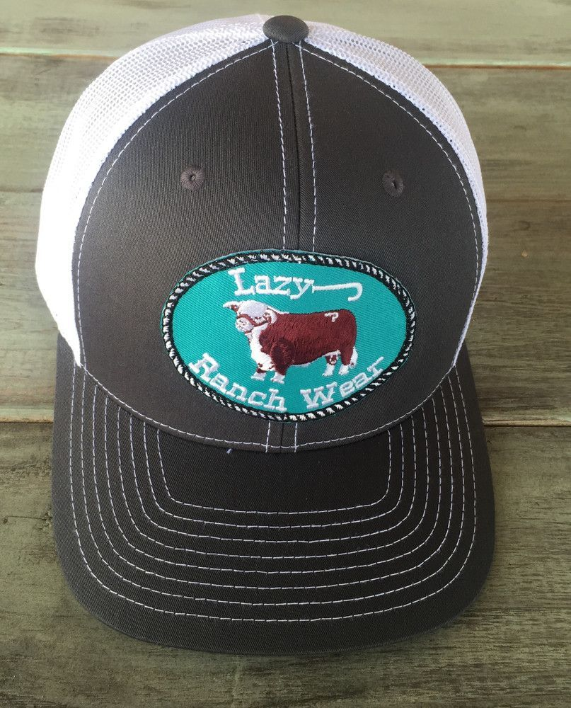 1c979320 Grey and White Lazy J Ranch Wear Hereford Logo Cap (3.5