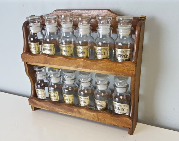 Set Of 12 Glass Spice Jars With Rack Glass Apothecary By Curioboxx