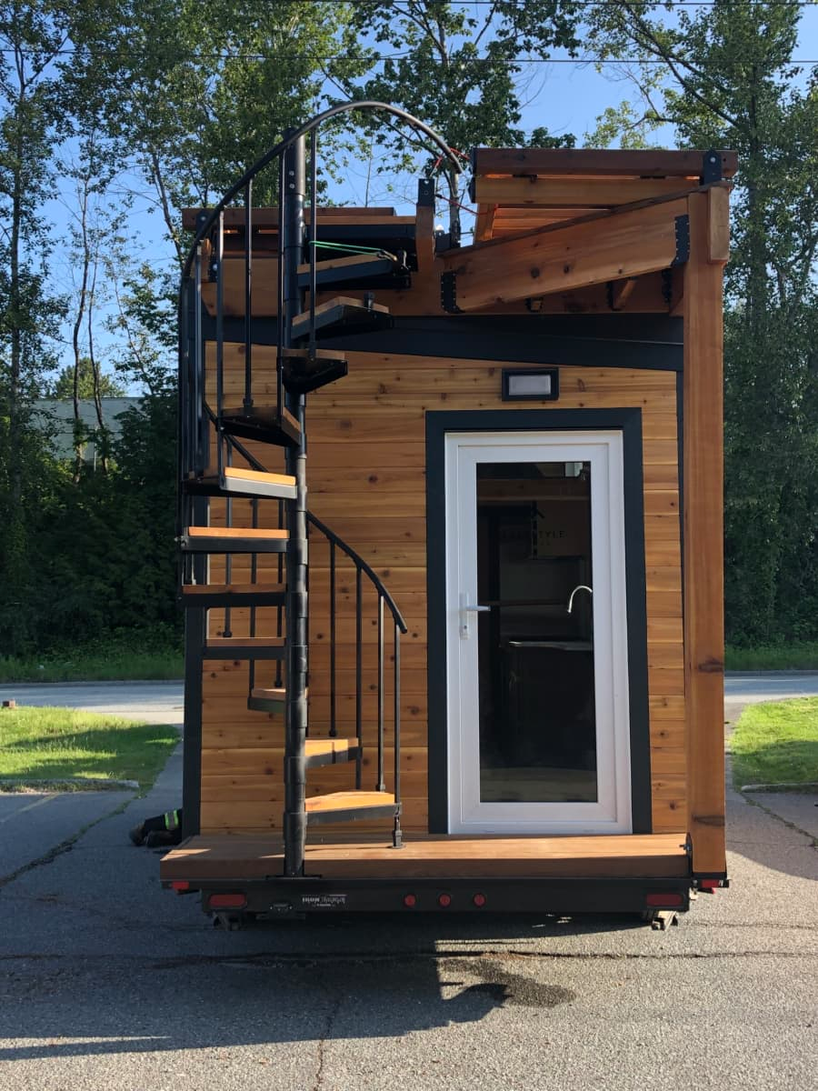 Brand New Model With Rooftop Deck Handrails Fold For Transport Tiny House For Sale In Vancouver B Tiny House Listings Tiny House Trailer Modern Tiny House