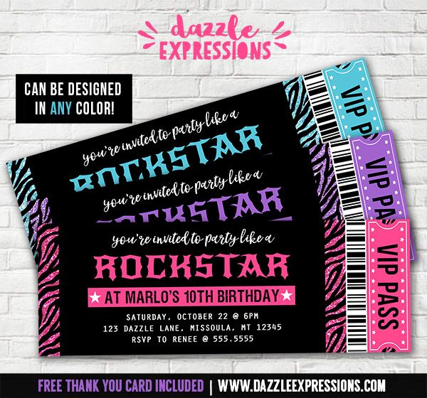 Printable Rockstar Ticket Birthday Invitation  Glitter Zebra