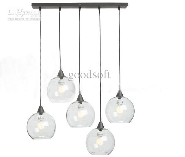 Wholesale Nordic Modern Minimalist Creative Glass Ball Chandelier Dining Room Living Pendant Lamp Free
