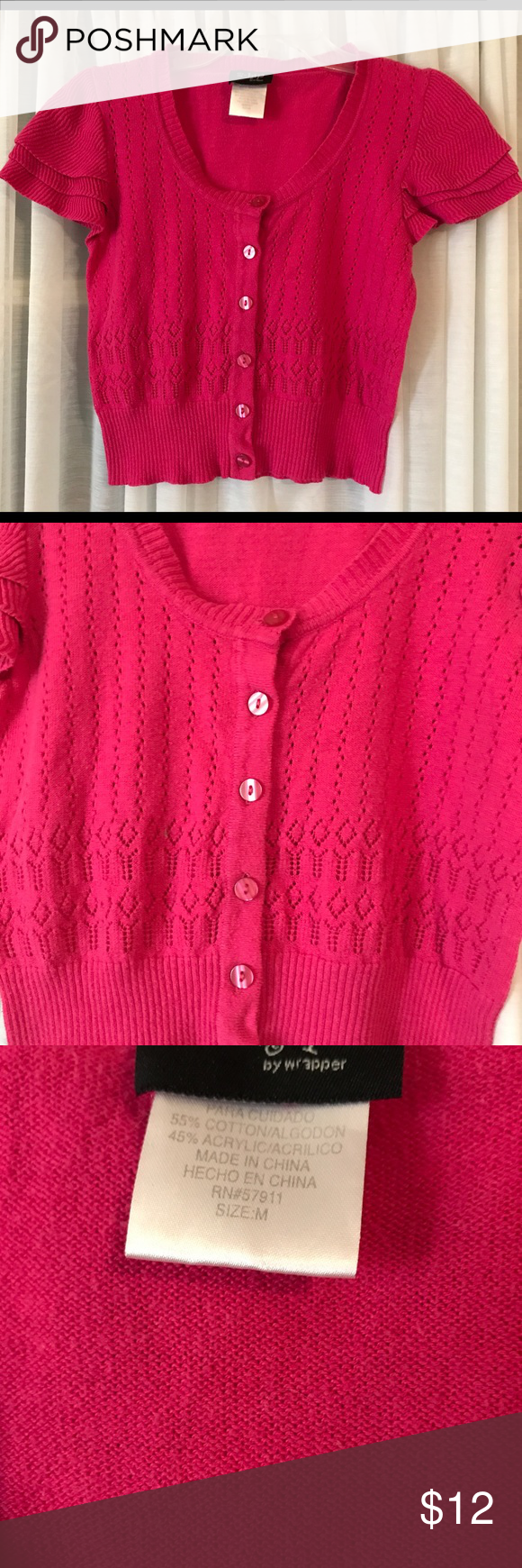 Girl's pink sweater top M button front 2-hip brand | Layering