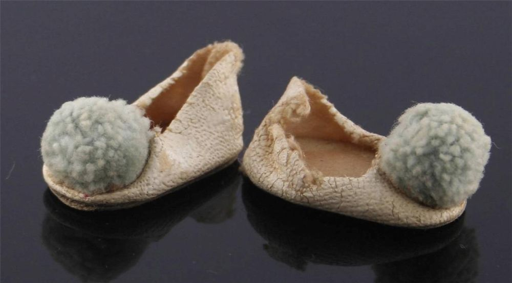 Ginny Shoes -- White Oil Cloth Oilcloth Shoes W/ Blue Pom Poms -- TLC Needed