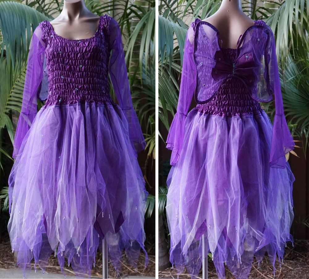 PINK Women/'s Fairy Dress Costume with Sleeves /& Wings
