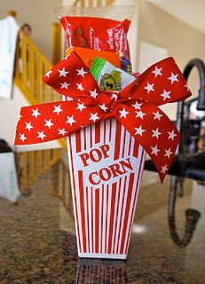 Great gift idea - include a gift card for movie theater.  Also a great idea for a sleep over/movie night for the kids!  And teacher gifts!