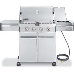 Weber Summit S 420 Natural Gas Grill On Cart With Side Burner Natural Gas Grill Gas Grill Rotisserie Grill