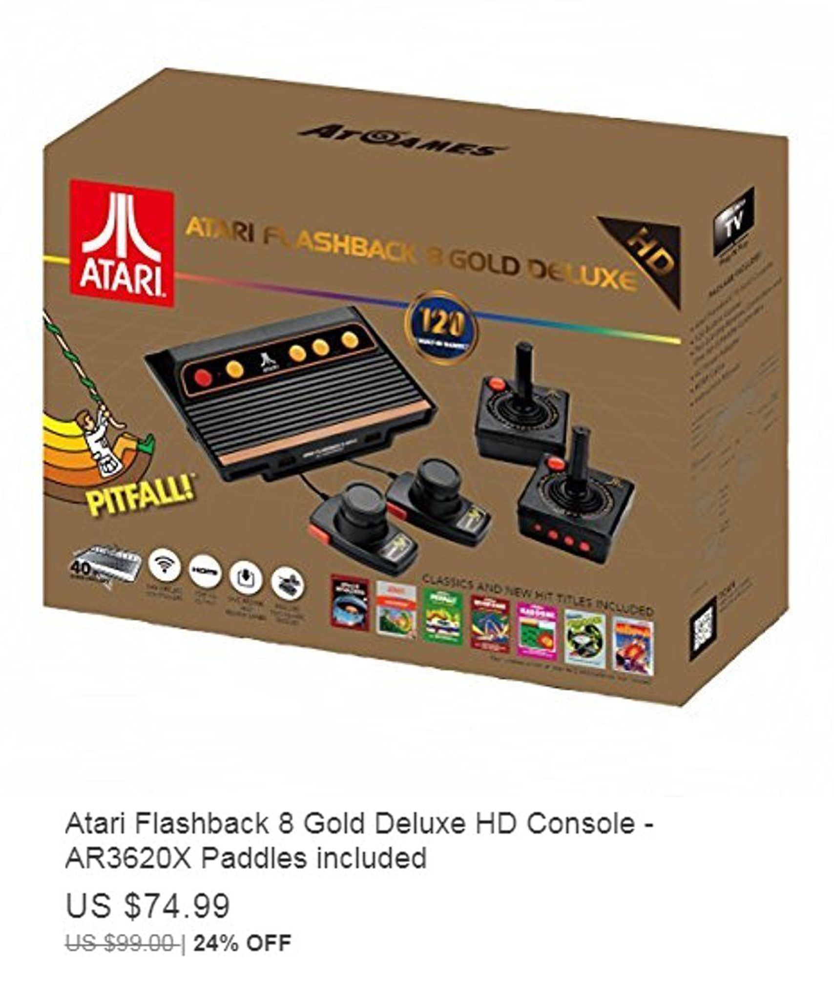 Atari Flashback 8 Gold Deluxe Hd Console Ar3620x Paddles