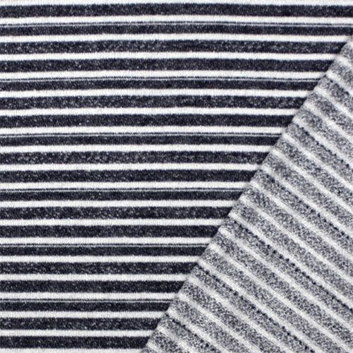 7db0ae35a4b Denim Blue White Multi Stripe French Terry Knit Fabric - A designer  overstock score! A drapey and soft cotton french terry knit with denim blue  multi stripe ...
