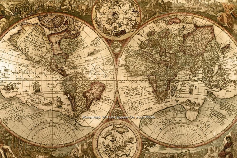 Attractive VINTAGE LOOKING OLD WORLD MAP POSTER PHOTO PERFECT WALL ART PICTURES SEPIA  TONE