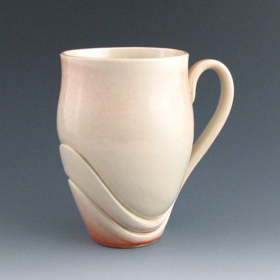 Mug Handmade Pottery Ceramic Unique Modern Sculptural Soft Pink with Red