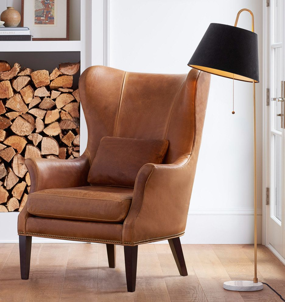 Modern Wing Chair Clinton Modern Wingback Leather Chair With Nailheads In 2019