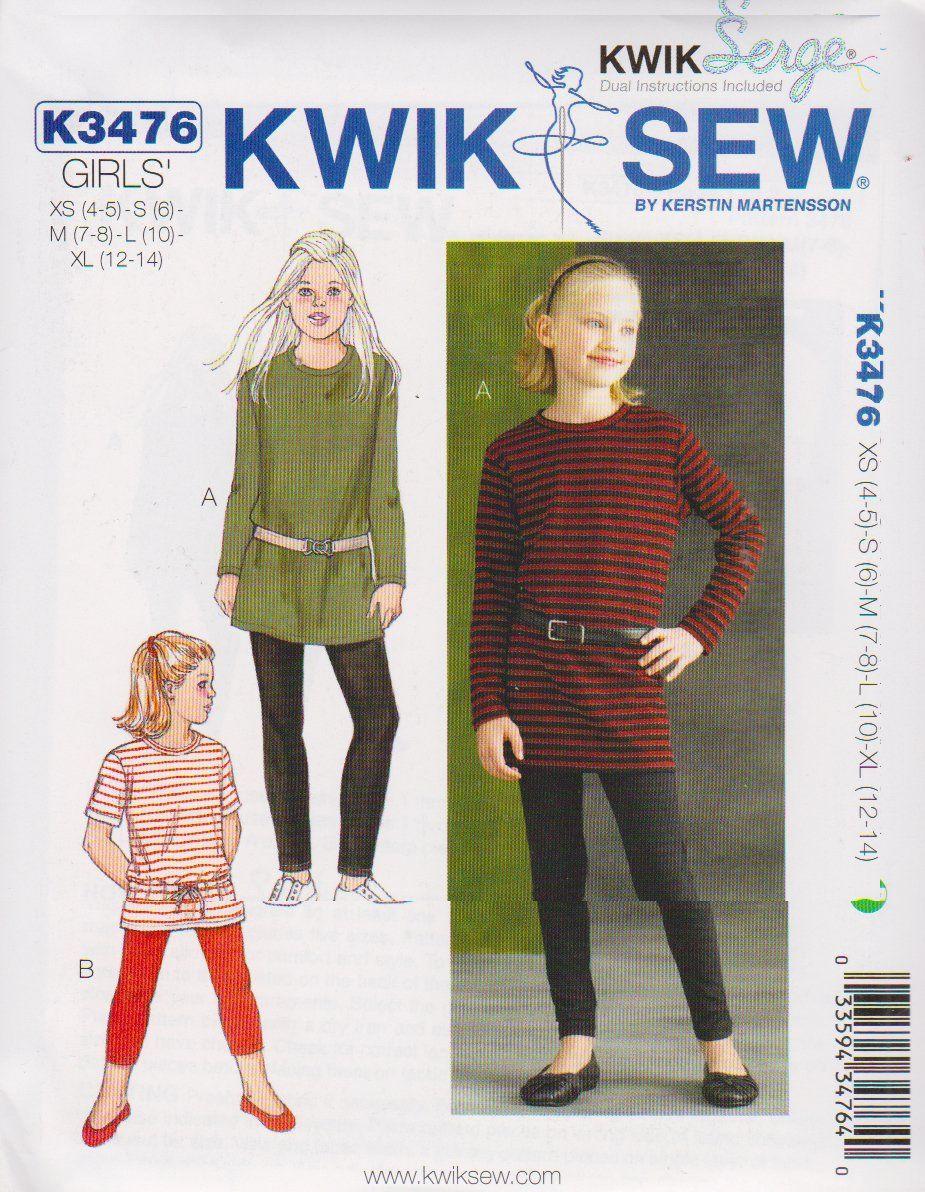 Kwik sew sewing pattern 3476 girls size 4 14 knit t shirt tunics kwik sew sewing pattern 3476 girls size 4 14 knit t shirt tunics top jeuxipadfo Choice Image