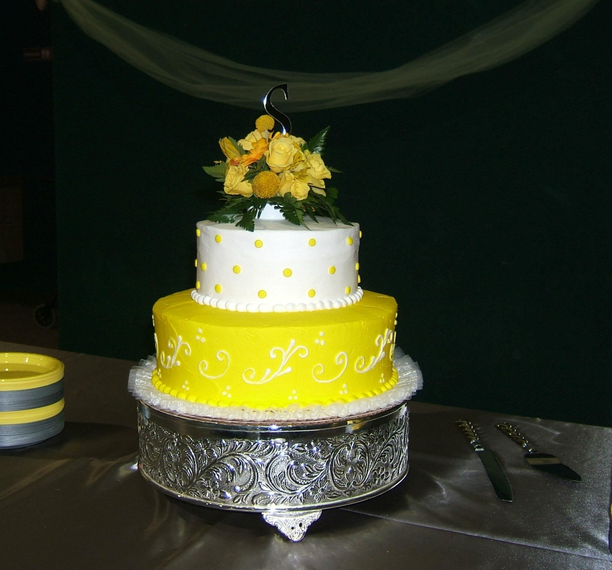 Yellow & White Wedding Cake from Fishers Bakery! May 2012