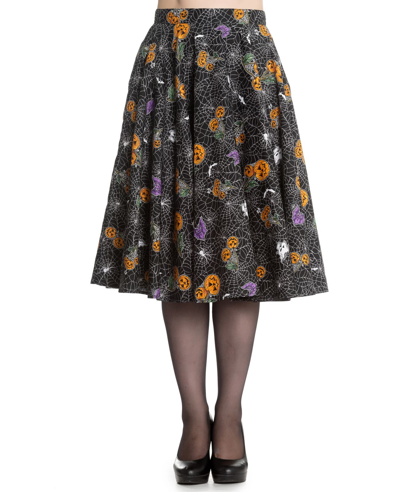 50s style skirt with Halloween themed pattern of orange pumpkin cherries 4238dc46b