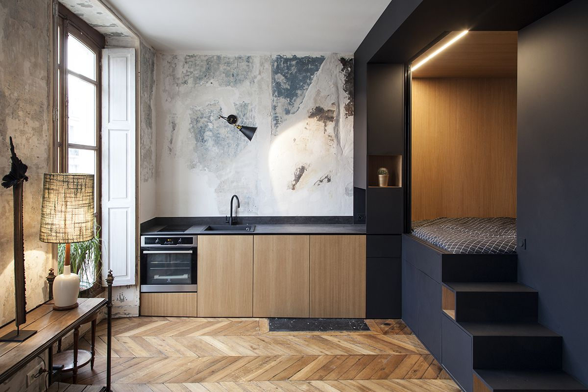 Studio Apartment Sleeping Solutions A Tiny Paris Studio With A Genius Bedroom Solution House