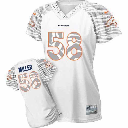 Women's Nike Denver Broncos #58 Von Miller Elite White 2012 Zebra Field Flirt Jersey$109.99
