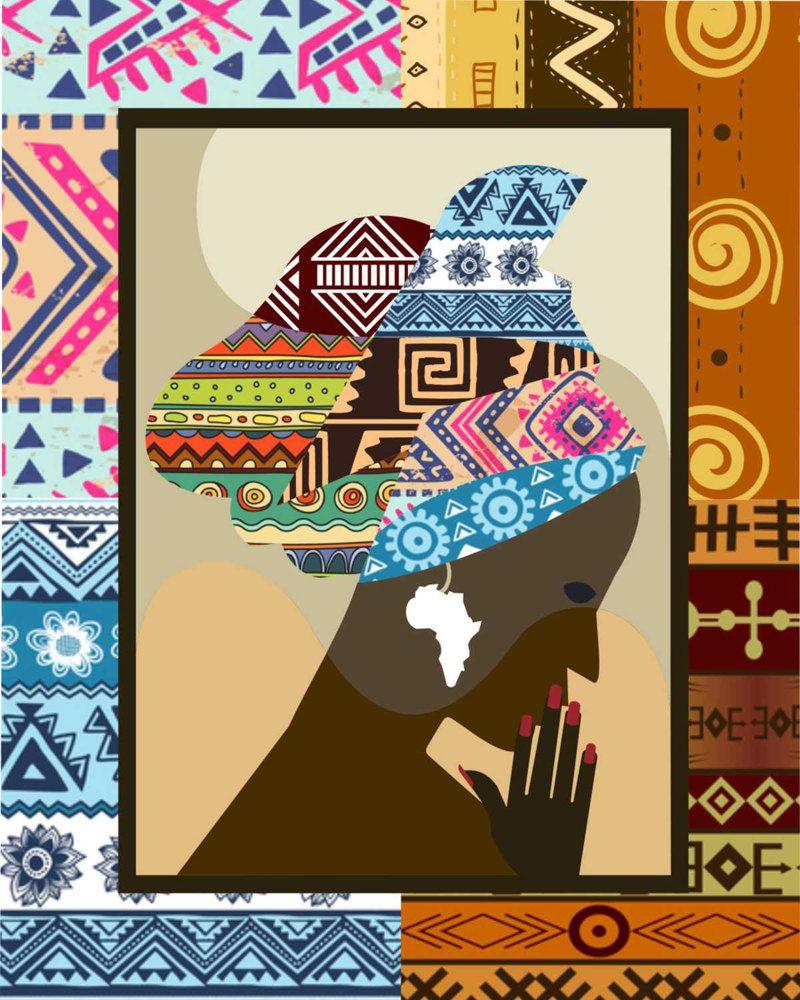 African Woman Print Wall Art Decor Black Girl Poster Estampas Africanas Africana Patchwork