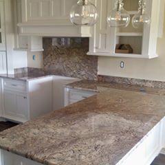 Typhoon Bordeaux granite sure does look good in this white ... on Typhoon Bordeaux Granite Backsplash Ideas  id=13146